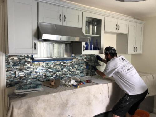 6. kitchen backsplash in progress